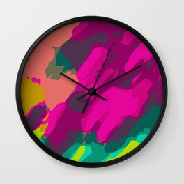 pink green and blue painting abstract background Wall Clock