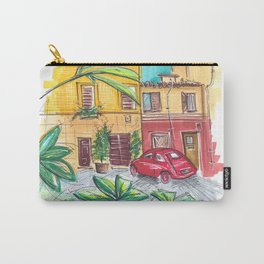 red vintage car in Rome Trastevere Italy Carry-All Pouch