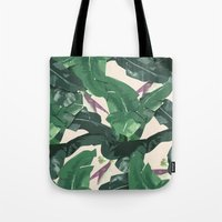 banana leaf Tote Bags featuring Banana Leaf Pattern by Tamsin Lucie