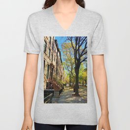 Cobble Hill Brooklyn New York in the Fall, Brownstones Unisex V-Neck
