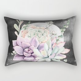 Succulents Full Moon Night Sky by Nature Magick Rectangular Pillow