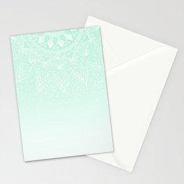 Elegant white and mint mandala confetti design Stationery Cards