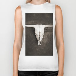 Sepia Brown Cow Skull Biker Tank