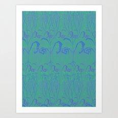Underwater Blue Flora Art Print