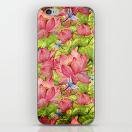 Floral Lotus Flowers Pattern with Dragonfly iPhone Skin