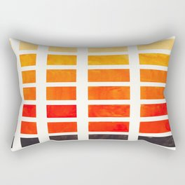 Orange Geometric Pattern Square Matrix Watercolor Art With Black Accent Rectangular Pillow