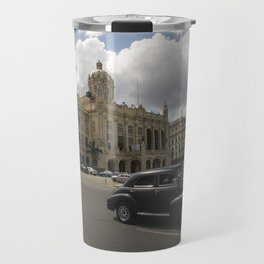Black american car passing in front of the Revolution Museum, La Havana, Cuba. Travel Mug