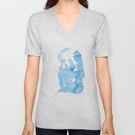 Watercolor Baboon - Blue Palette Unisex V-Neck