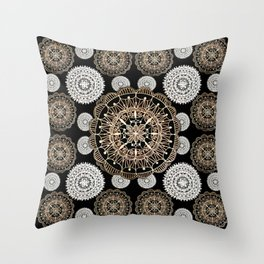 Black, Silver, and Rose-Gold Mandala Patterned Textile Throw Pillow