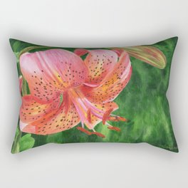 Coral Lily Painting by Teresa Thompson Rectangular Pillow