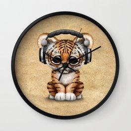 Cute Tiger Cub Dj Wearing Headphones Wall Clock