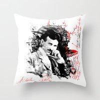 tesla Throw Pillows featuring Nikola Tesla by viva la revolucion