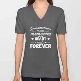 Grandmothers Create Memories Heart Holds Forever T-Shirt Unisex V-Neck