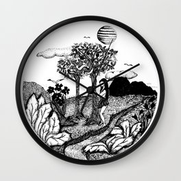The Garden - Ink Drawing Wall Clock