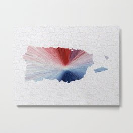 Colorful Art Puerto Rico Map Blue, Red and White Metal Print