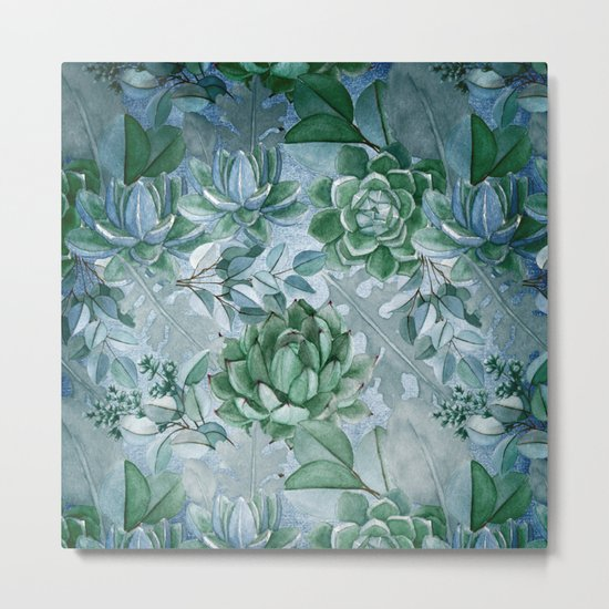 Painterly blue teal cactus pattern Metal Print