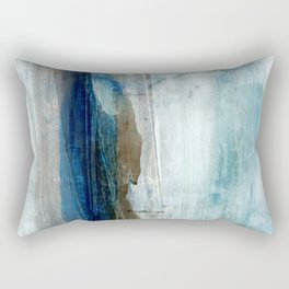 Blue and Brown Abstract Watercolor Rectangular Pillow