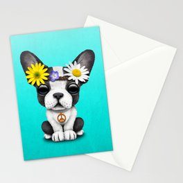 Cute French Bulldog Puppy Hippie Stationery Cards