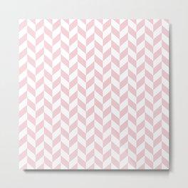Pink and White Herringbone Pattern Metal Print