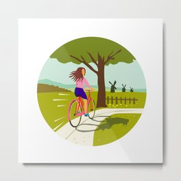 Girl Riding Bicycle Up Tree Circle Retro Metal Print