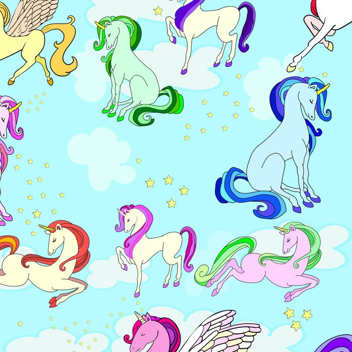 Unicorn repeating pattern colorful on blue Leggings