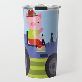 Pig on Tractor Travel Mug