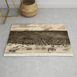 Detroit Michigan Bird's Eye Map Rug