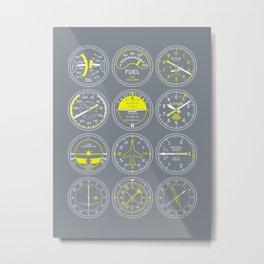 Aircraft Flight Instruments - Full Grey Metal Print