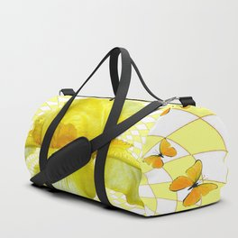 YELLOW BUTTERFLIES & YELLOW IRIS WHITE PATTERN ART Duffle Bag