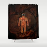 super hero Shower Curtains featuring Rust Man - Super Hero by Paul Stickland for StrangeStore