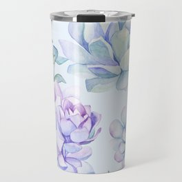 Wonderful Succulents Light Blue Travel Mug