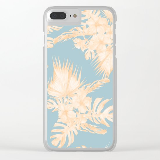 Island Vacation Hibiscus Palm Mango Sky Blue Clear iPhone Case