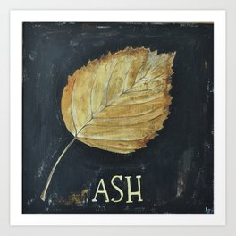 Hand-Painted Fall Ash Leaf Art Print