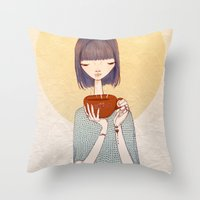 coffee Throw Pillows featuring coffee by Renia