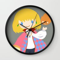 calcifer Wall Clocks featuring Howl and Calcifer by Mayying