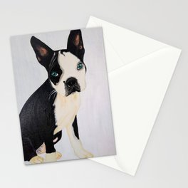 blou boston terrier artwork acrylic painting Stationery Cards