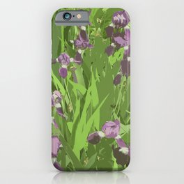 Irises, contemporary art, purple green iPhone Case