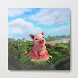 Watermelon Piggy Love Metal Print