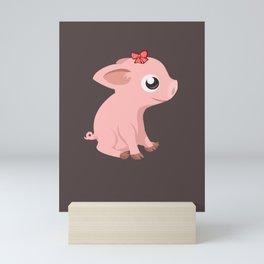 Lustiges süßes Schwein Baby mit Schleife - süß tolles Kinder Mini Art Print