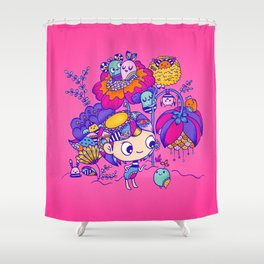Flower Garden Friends Shower Curtain