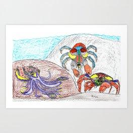 Cuttlefish & Coconut Crabs Art Print