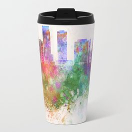Omaha V2 skyline in watercolor background Travel Mug