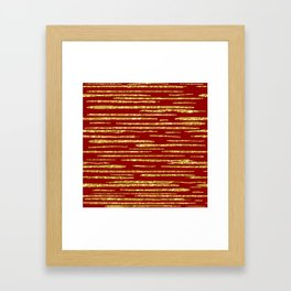 Gold and red abstract lines pattern Framed Art Print