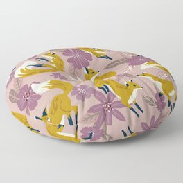 Foxes & Blooms – Lavender Palette Floor Pillow
