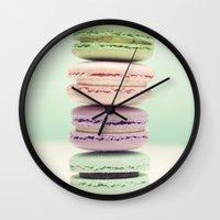 macaron Wall Clocks featuring Macaron Tower by Tiny Deer Studio