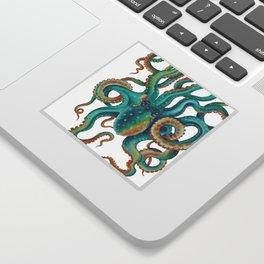 Octopus Tentacles Teal Green Watercolor Art Sticker