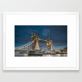 Tower and moon Framed Art Print
