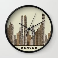 denver Wall Clocks featuring Denver by bri.buckley