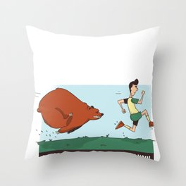 Funny Bear Camping design - Chased By A Bear Outdoors Throw Pillow
