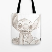 lilo and stitch Tote Bags featuring Stitch  by Nic Moore
